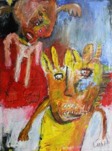 When the bones of your nightmare shine through your skin, gemengde techniek op canvas, 60 x 80 cm, 2008