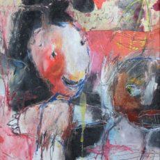 The straits of love and hate (for JLP), gemengde techniek en collage op triplex, 22 x 22 cm, 2014 (verkocht/sold)