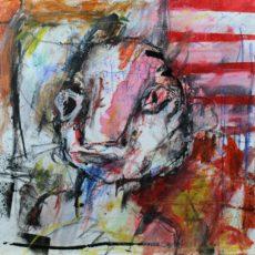 Het geschiedde onder je blinde ogen, gemengde techniek op canvas, 30 x 30 cm, 2015