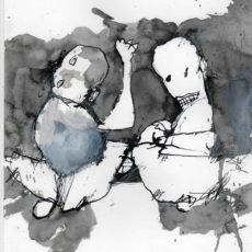 Collision time, gemengde techniek op papier, 21 x 29,7 cm, 2016