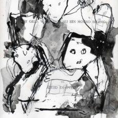 Hebzucht, inkt en potlood op boekpagin, 24,8 x 31,5 cm, 2016