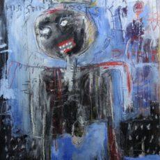 King Ink strolls into town, gemengde techniek op canvas, 40 x 50 cm, 2013