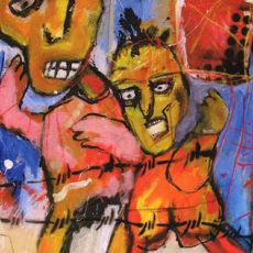 Territorial pissings, gemengde techniek op canvas, 50 x 60 cm, 2005