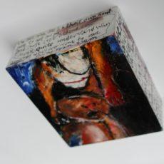 Keefman or Cause & Effect, gemengde techniek op houten kistje, 13,7 x 16 x 5,5 cm, 2015