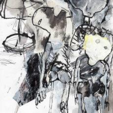 In the port of souls, gemengde techniek en collage op papier, 21 x 29,7 cm, 2016