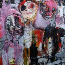 The talkin' mob, gemengde techniek op papier, 25,5 x 30,5 cm, 2014