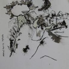 Opperhoofd, gemengde techniek op papier, 28 x 29 cm, 2007