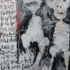 De levende doden (I), gemengde techniek en collage op papier, 50 x 65 cm, 2014 (tekst Rob te Wierik)