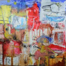 Keep playing that rock & roll, gemengde techniek en collage op canvas, 100 x 100 cm, 2007