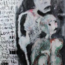 De levende doden (II), gemengde techniek en collage op papier, 50 x 65 cm, 2014 (tekst Rob te Wierik)