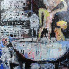De anarchie slaat toe, gemengde techniek en collage op papier, 50 x 65 cm, 2014 (tekst Rob te Wierik)