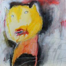 Die Wunde des Alphabets, gemengde techniek op canvas, 30 x 30 cm, 2013