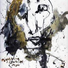Nighttime ramblin' man, inkt en potlood op boekpagina, 24,8 x 31,5 cm, 2016