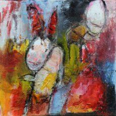 Dancing in the street, gemengde techniek op canvas, 20 x 20 cm, 2015