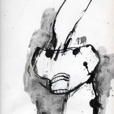 Bang en boos, inkt en potlood op boekpagina, 24,8 x 31,5 cm, 2016