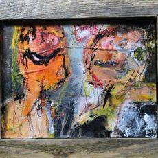 Op het eerste gezicht, gemengde techniek op triplex, beeld 14,2x 10,8 cm, met lijst 17,9 x 14,7 cm, 2015
