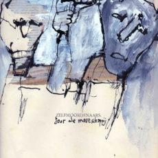 Zelfmoordenaars door de maatschappij, gemengde techniek en collage op boekpagina, 24,8 x 31,5 cm, 2017