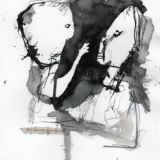 Een onacceptabele situatie, inkt en potlood op boekpagina, 21 x 29,7 cm, 2016