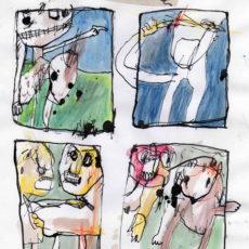 Life is war, inkt, potlood en collage op papier, 20 x 26 cm, 2007