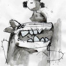Beauty and the beast, gemengde techniek op papier, 19 x 27 cm, 2007