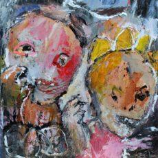 Tongues wag in this town, gemengde techniek op karton, 16,8 x 17,2 cm, 2015