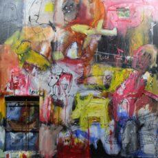 Time for heroes, gemengde techniek en collage en assemblage op canvas, 90 x 90 x 3,5 cm, 2009