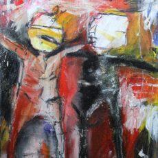 I was born as a free man, now I'm tied to the mass, gemengde techniek en collage op canvas, 30 x 40 cm, 2014