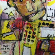 Lonely planet boy, gemengde techniek op canvas, 30 x 40 cm, 2005
