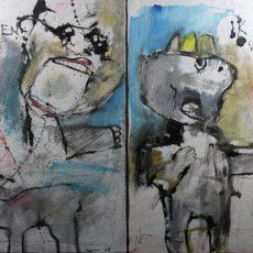 Nou Nou (voor CBV), gemengde techniek op canvas, (2 x) 30 x 40 cm, 2008