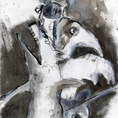 Het Westen walst omdat het niet kan dansen, gemengde techniek en potlood op papier, 21 x 29,7 cm, 2015