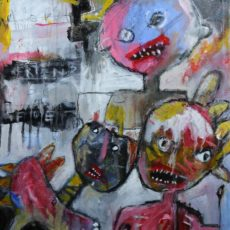 Cowboys are square, the indians the best, gemengde techniek op canvas, 40 x 50 cm, 2013