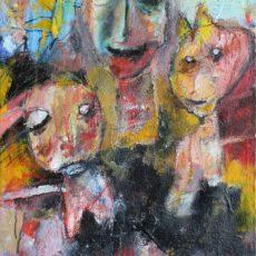 It's a wild world (don't push me), gemengde techniek op canvas, 50 x 70 cm, 2016