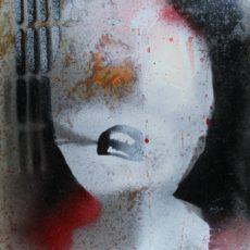 Es tanzt das ZNS, gemengde techniek op ijzer, 31 x 49 cm, 2015