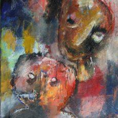 Kid Blue, gemengde techniek op canvas, 50 x 70 cm, 2016