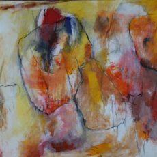 Ik ben niet langer van land (here to go), gemengde techniek op canvas, 115 x 75 cm, 2016