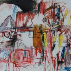King Ink strolls into town, gemengde techniek op papier, 40 x 30 cm, 2013