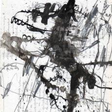 The pack, inkt en potlood op gebruikt papier, 16,5 x 21 cm, 2016
