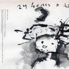 """24 hours a day, inkt, pagina uit het kunstenaarsboek """"vreemde wereldvreemde wereld"""""""