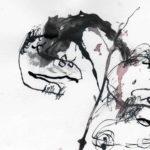 """dreams less sweet, inkt, pagina uit het kunstenaarsboek """"vreemde wereldvreemde wereld"""""""