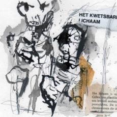 """het kwetsbare lichaam, pagina uit het kunstenaarsboek """"vreemde wereldvreemde wereld"""""""