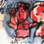 We touch like cripples, gemengde techniek en zeefdruk, pagina uit het kunstenaarsboek Vreemde wereldvreemde wereld