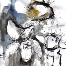 de roep van de wolf, gemengde techniek op papier, 21 x 29,7 cm, 2008