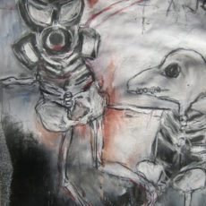 Es tanzt das ZNS, gemengde techniek op papier, 29,5 x 52 cm, 2013