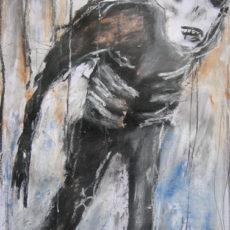 King Ink strolls into town, gemengde techniek op papier, 29,5 x 52 cm, 2013