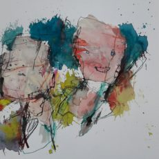 Alsof er niets aan de hand is, gemengde techniek en collage op papier, 40 x 30 cm, 2017