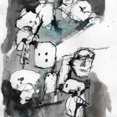 Nieuwe slachtoffers zijn al gevonden, inkt op papier, 21 x 29,7 cm, 2017