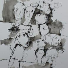 Het traklt in de beschaving, inkt, potlood en krijt op papier, 30 x 40 cm, 2017