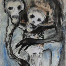 Death is hanging over me, gemengde techniek op papier, 29,5 x 52 cm, 2013 (verkocht/sold)