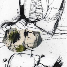 De forens, inkt en collage op papier, 29,7 x 21 cm, 2017