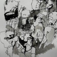 The whole tamale, inkt en acrylverf op papier, 30 x 40 cm, 2017